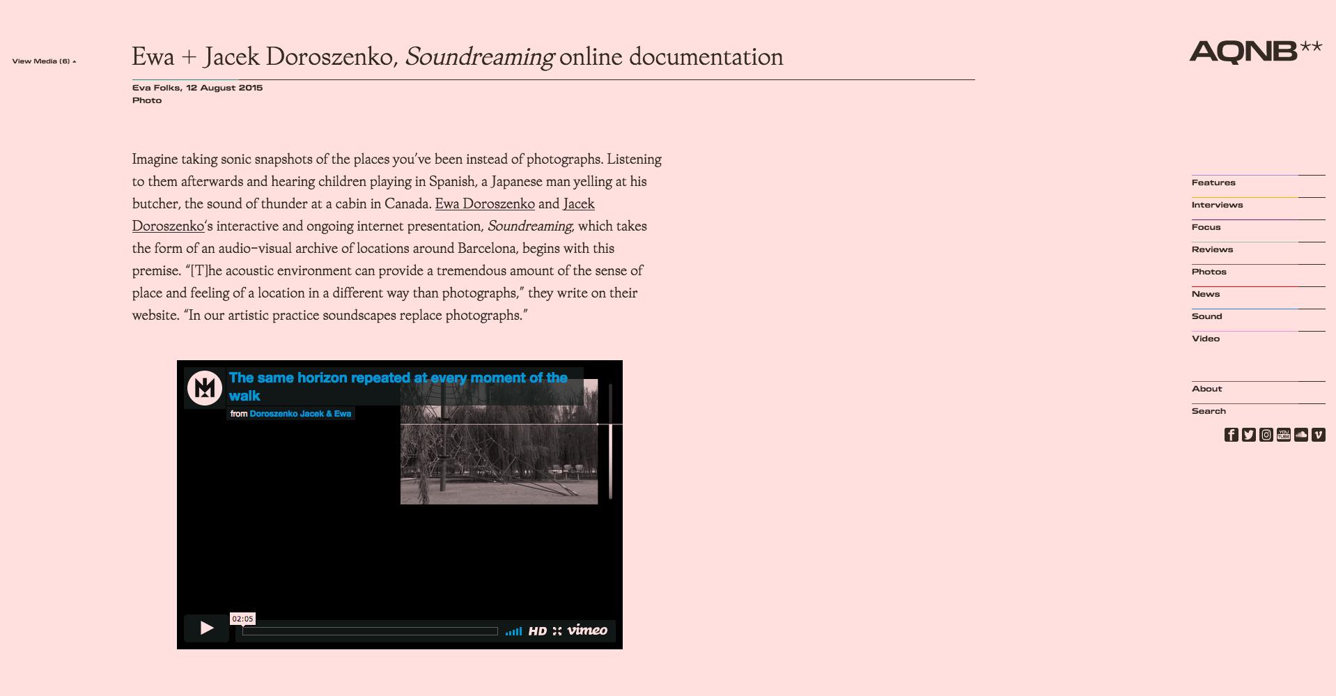 Ewa Doroszenko – Soundreaming, aqnb