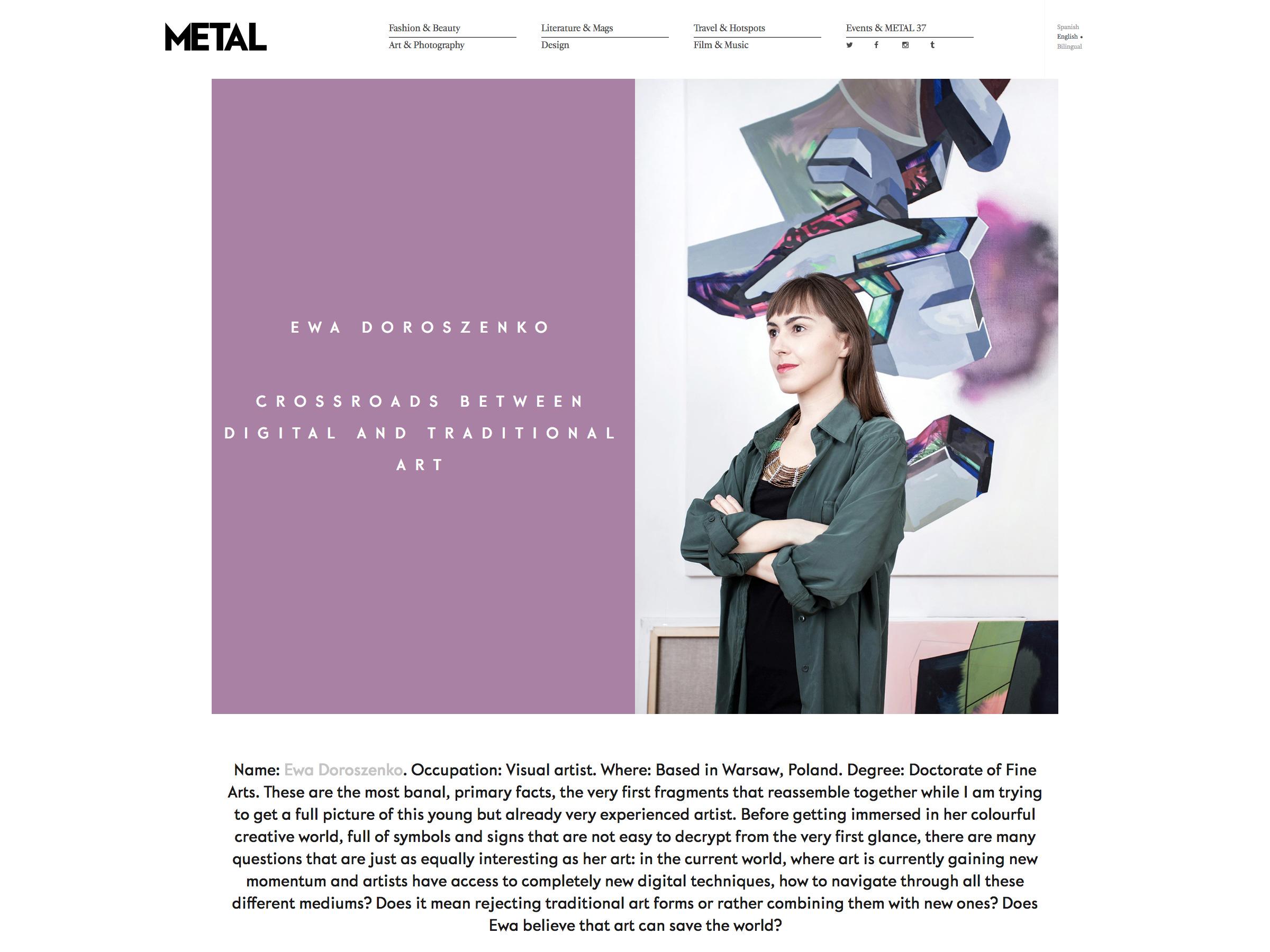 Ewa Doroszenko – Metal Magazine - wywiad zartystką